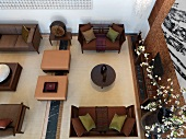 Aerial view of contemporary living room with sitting area