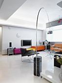 Modern living room with colorful entertainment center