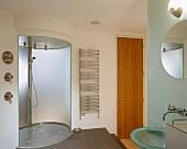 Oval shower area on platform in designer bathroom