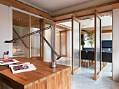 Home office with large wooden desk