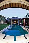Fisheye view private pool at tropical resort suite