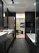 Dark modern bathroom