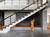 Modern hardwood covered cement staircase