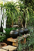Exotic garden area with ceramic vessels on sandstone bench