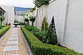 Flowerbeds bordered with hedges and white roses either side of gravel path in garden