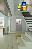 Floating staircase in modern home
