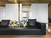 Leather sofa in modern living room