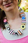 Cute necklace of modelling clay liquorice allsorts