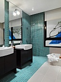 Modern bathroom with mosaic tile shower
