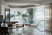 Modern living room with marble floors