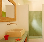Washing area with trough-style sink on green concrete counter and vintage, wall-mounted tap fittings next to separate shower with green wall