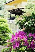 Sommerlicher Blumengarten mit Teich und Pagode im Hintergrund
