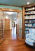 Open French Doors and Home Library