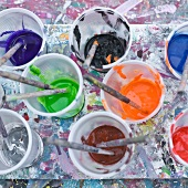 Paints and Brushes in Plastic Cups