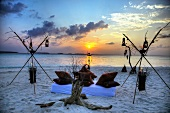 Romantic camp on beach