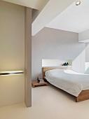 Clean white modern bedroom