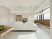 Monochromatic white living room
