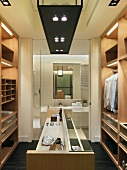 Modern walk in closet and bathroom