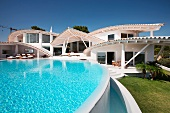 Swimming pool outside of modern home