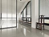 Hallway and sliding door in modern home