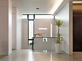 Top of staircase in modern home