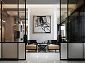 Glass pocket doors in modern home