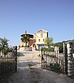 Entrance gate to Villa Octavius on island of Lefkas, Greece