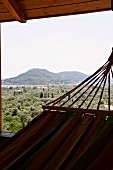 View of surrounding countryside from tower of Villa Octavius, Lefkas, Greece