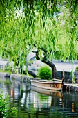 Boat Docked in a Japanese Canal