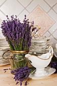 Lavender and crockery
