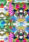 Tropical design with parrots (print)
