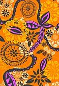 Orange and magenta graphic floral design (print)