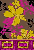 Olive green and pink tropical flowers on light brown background (print)