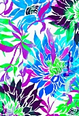 Multicoloured tropical flowers (print)