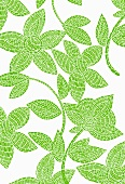 Green mosaic-style flowers on white background (print)