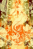 Floral design on orange and brown background (print)