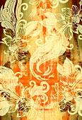 Floral design on orange and brown background (print)