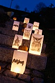 Halloween lanterns on steps in dark