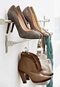 Shoe rack with ladies shoes