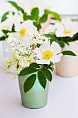 Wild roses and elder flowers in colorful metal containers