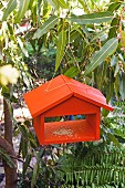 Small, vivid orange bird table in garden hung on simple cord and eyelet screws
