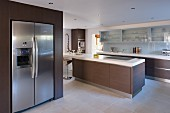 Built-in fridge and freezer with stainless steel doors