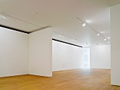 Empty gallery space lit with spotlights on a suspended ceiling and wood flooring (Photographers' Gallery, London)