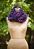 Purple Scarf Made from Alpaca Wool; On Form