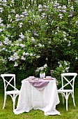 Set garden table and white chairs in front of profusely flowering lilac trees