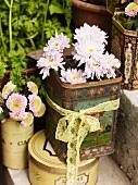 Vintage tins used as vases