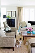 Upholstered furniture and rustic coffee table in traditional interior