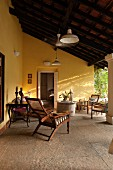 Paved veranda of home exterior in the Indian state of Goa