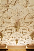 View of stucco ceiling with conical elements