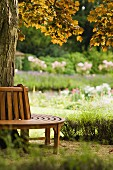 Circular wooden bench encircling tree trunk and flowering plants in garden